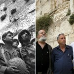 In this combination of two photos, Israeli army paratroopers Zion Karasanti, left, Yitzhak Yifat, centre, and Haim Oshri, right, stand next to the Western Wall, Judaism holiest site, in Jerusalem's Old City after it was captured during the Six Day War on June 7, 1967, left, and 40 years later, May 16, 2007. The image on the left is etched in history - an iconic photo that captured Israel in its most triumphant moment. Three young, battle-worn faces gazing up in wonder at the Western Wall, moments after capturing Judaism's holiest site in the Six-Day War.-United Israel World Union