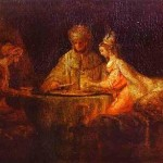 Achashverosh and Haman at the Feast of Esther, Rembrandt (1660)