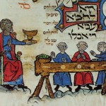 "France in the late 13th century, a small family holds its seder - Therese & Mendel Metzger, ""Jewish Life in the Middle Ages."""